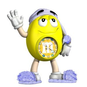 M&M YELLOW ALARM CLOCK BEDSIDE