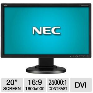 "NEC E201W-BK 20"" Class Widescreen LED Monitor"
