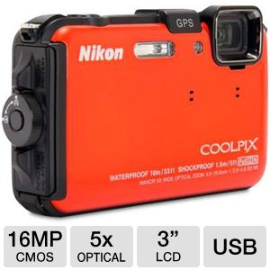 Nikon AW100 COOLPIX Orange 16MP Digital Camera