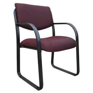 Burgundy Fabric Guest Chair with Lumbar Support