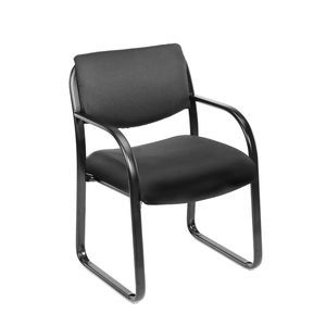 Black Fabric Guest Chair with Lumbar Support