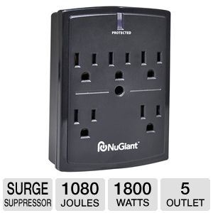 NuGiant 5 Outlet Wall Mount Surge Protector