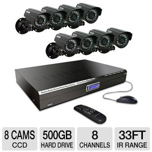 KGUARD 8-CH 8-CAMERA CCD SECURITY SYSTEM