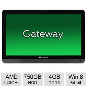 "Gateway 4GB DDR3 Memory, 750GB HDD, 19.5"" All-In-One PC"