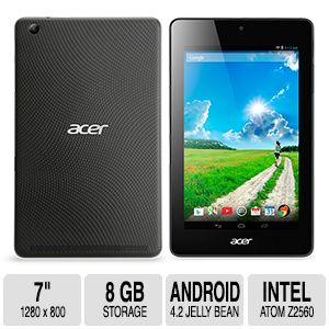 Acer Iconia One 7 B1-730HD 11S6 Tablet - Android 4.2 Jelly Bean, 1.6 GHz, 1GB Memory, 8GB Storage, 7'' LED-backlit Display, 1280x800, Front/Rear Camera, Bluetooth 3.0, WiFi, Black - NT.L4CAA.003