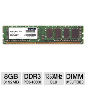 Patriot Signature 8GB DDR3 1333MHz Memory Module