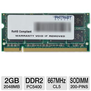 Patriot 2048MB PC5400 DDR2 SODIMM Laptop Memory
