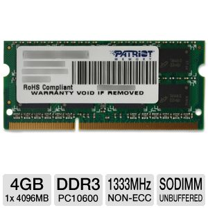 Patriot 4GB PC10600 DDR3 Laptop Memory
