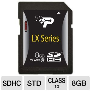 Patriot 8GB LX Class 10 SDHC Flash Memory Card