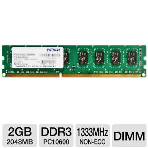 Patriot PC10600 2GB DDR3 Desktop Memory Upgrade