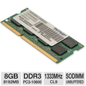 Patriot Sig 8GB DDR3-1333MHz Laptop Memory