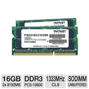Patriot Sig 16GB DDR3-1333MHz Laptop Memory