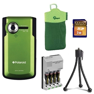 Polaroid DVF-130GC Pocket Video Camera Bundle