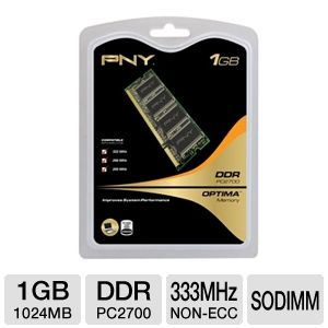 PNY 1024MB PC2700 SODIMM Laptop Memory
