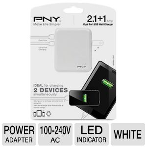 PNY USB Wall Charger in White