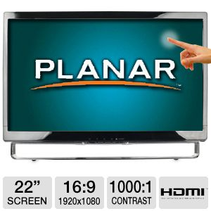 "Planar 22"" Wide 1080p Touchscreen LED, HDMI"