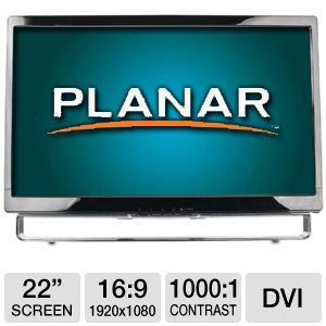 "Planar 22"" 1080p Multi-Touch LCD, Speakers, DVI"