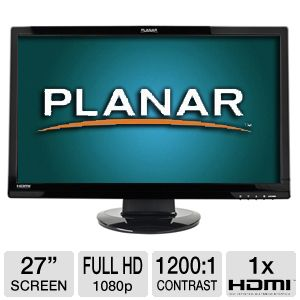"Planar 27"" Wide 1080p LCD, Speakers, DVI, HDMI"