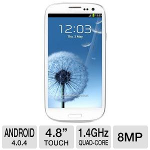 Samsung Galaxy S III Smartphone - Android OS 4.0.4, 4.8'' Touchscreen Display, Multi-Touch, Built-in WiFi, 8MP Camera, Bluetooth, Micro USB Port, MicroSD Slot, 3.5mm Jack, White - I9300 WHITE