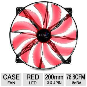 AeroCool SilentMaster 200mm Red LED Fan