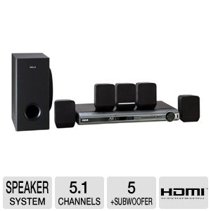 RCA RTB1016 5.1 Channel Blu-ray Home Theater System with Subwoofer, HDMI, 1080p Resolution