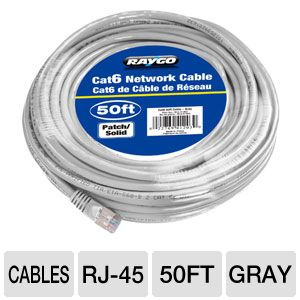 Raygo 50ft Cat6 550MHz Snagless Patch Cable Gray