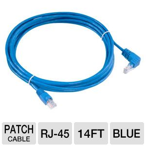 Raygo 14ft Cat5e 90 Degree Snagless Patch Cbl Blue