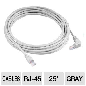 Raygo 25ft Cat6 90 Degree Snagless Patch Cbl Gray