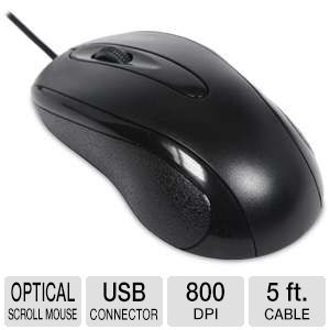 Raygo USB Optical Scroll Mouse - 3-Button, USB, 5' Cable, 800 dpi, Black