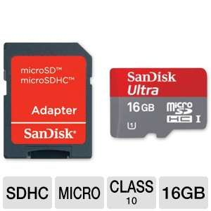 SanDisk Ultra 16GB microSDHC Flash Memory Card