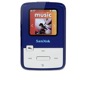 "SanDisk Sansa Clip Zip MP3 Player - 1.1"" Display, Portable, USB 2.0, 4GB Memory, Built-in Battery. Available in Blue & Purple (Refurbished)"
