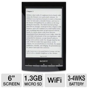 Sony PRS-T1BC 6&quot; Wi-Fi eReader REFURB