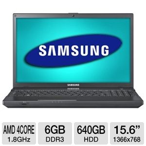 Samsung Series 3 NP305V5A-A04US 15.6 inch 6GB LED Laptop Computer with 1.8Ghz AMD Quad-Core A8 Series Accelerated Processor, 640GB HDD, 1.3MP Webcam, Bluetooth, HDMI