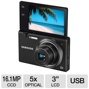 Samsung MV800 16MP Digital Camera with 5x Optical Zoom, 3 inch Mutli-Angle LCD Screen, Face Detection