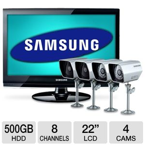 Samsung SME-2220 DVR Security System with 8 Channel, Built in DVR, 500GB, 600TV Lines, Smartphone Ready + 22 inch LCD Monitor