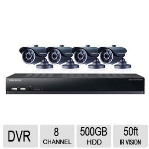 Samsung D1 8 Ch 4 Cam 600TVL 500GB Security Kit