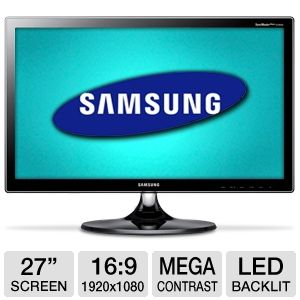 "Samsung 27"" 1080p LED Monitor, 2ms, HDMI, MHL"