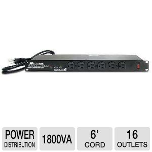 StarTech 19in 1U Rackmount 16 Outlet PDU Power Uni