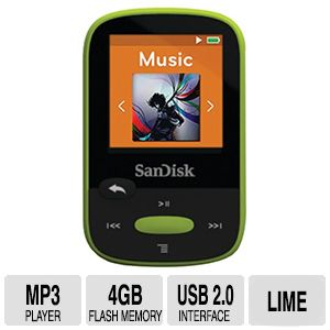SanDisk 4GB Clip Sport MP3 Player - Lime