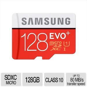 Samsung 128GB MicroSDXC EVO+ Flash Card - With Adapter, Up To 80MB/s Transfer Speed, Class 10, UHS-I - MB-MC128DA/AM