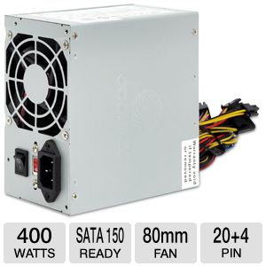 Coolmax 400W Power Supply w/ 80mm Fan