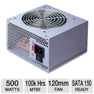 Coolmax 500W Power Supply w/ 120mm Fan