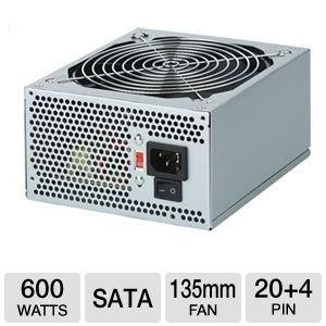 Coolmax 600W 135mm Fan ATX Power Supply w/ PCI-E