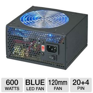 Coolmax 600W CL Series Blue LED PSU