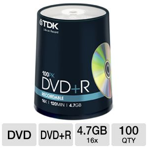 TDK 100-Pack 16X DVD+R in Spindle