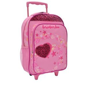 LED Rolling Backpack, Hearts and Stars Print
