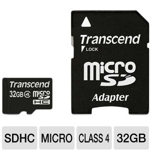Transcend 32GB Class 4 MicroSDHC Card with Adapter