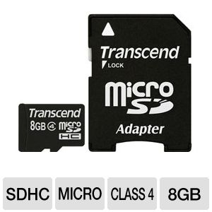 Transcend 8GB microSDHC Flash Memory Card