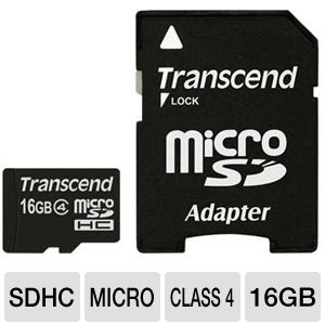 Transcend 16GB Class 4 microSDHC Flash Card