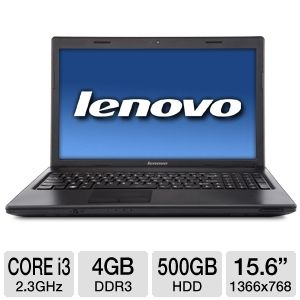 "Lenovo 15.6"" Core i3 500GB HDD Notebook REFURB"